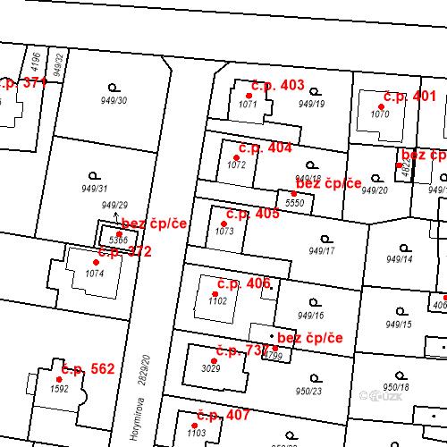Katastrální mapa Stavební objekt Plzeňské Předměstí 405, Rokycany