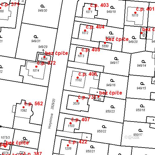 Katastrální mapa Stavební objekt Plzeňské Předměstí 406, Rokycany