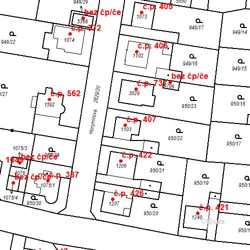 Katastrální mapa Stavební objekt Plzeňské Předměstí 407, Rokycany