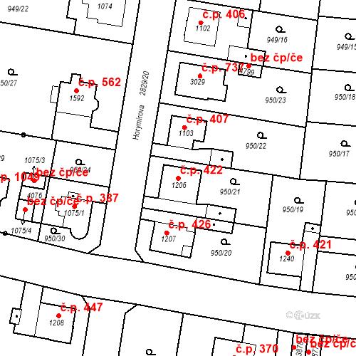 Katastrální mapa Stavební objekt Plzeňské Předměstí 422, Rokycany