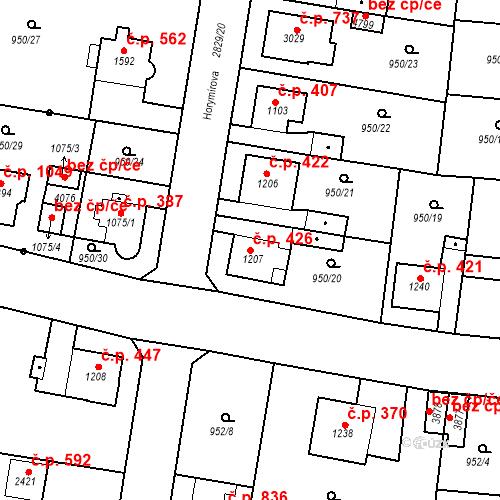 Katastrální mapa Stavební objekt Plzeňské Předměstí 426, Rokycany