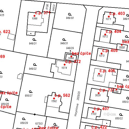 Katastrální mapa Stavební objekt Plzeňské Předměstí 372, Rokycany