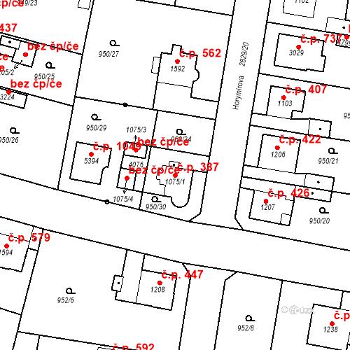 Katastrální mapa Stavební objekt Plzeňské Předměstí 387, Rokycany