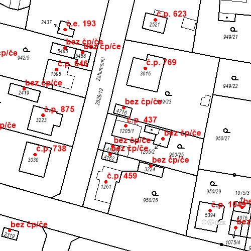 Katastrální mapa Stavební objekt Plzeňské Předměstí 437, Rokycany