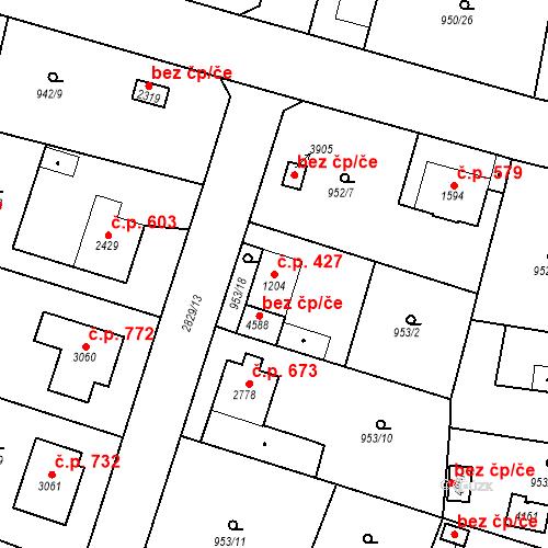 Katastrální mapa Stavební objekt Plzeňské Předměstí 427, Rokycany
