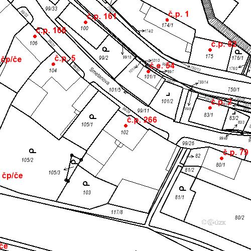 Katastrální mapa Stavební objekt Březno 266, Březno