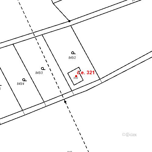 Katastrální mapa Stavební objekt Plzeňské Předměstí 321, Rokycany