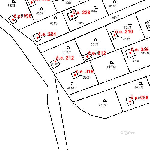 Katastrální mapa Stavební objekt Plzeňské Předměstí 319, Rokycany