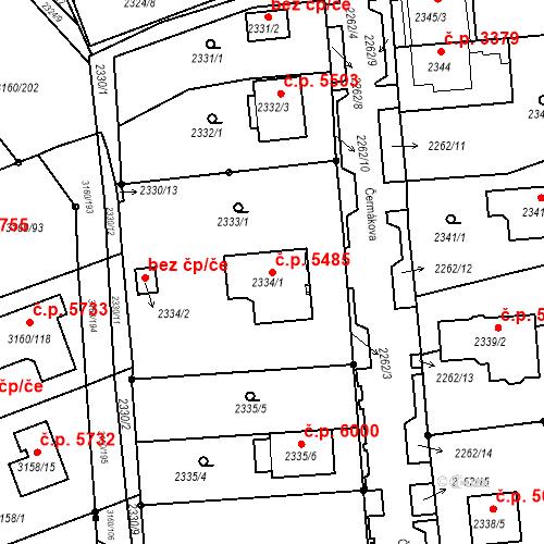 Katastrální mapa Stavební objekt Chomutov 5485, Chomutov