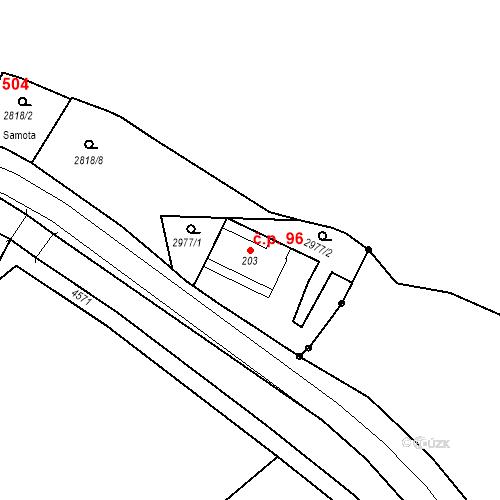 Katastrální mapa Stavební objekt Kryry 96, Kryry