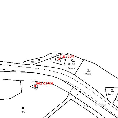 Katastrální mapa Stavební objekt Kryry 504, Kryry