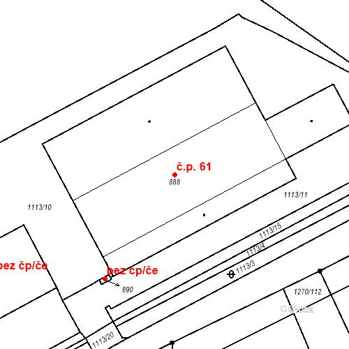 Katastrální mapa Stavební objekt Kryry 61, Kryry