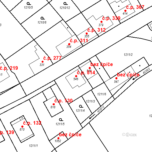 Katastrální mapa Stavební objekt Kryry 514, Kryry