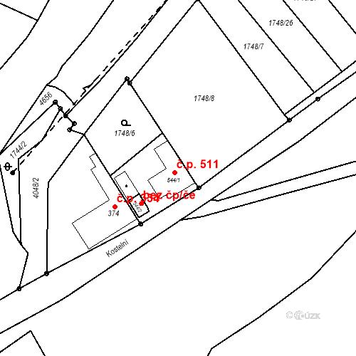 Katastrální mapa Stavební objekt Kryry 511, Kryry