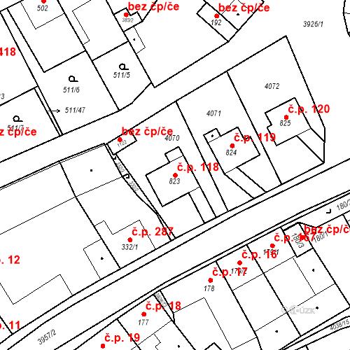 Katastrální mapa Stavební objekt Kryry 118, Kryry
