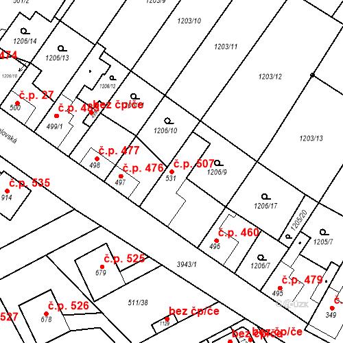 Katastrální mapa Stavební objekt Kryry 507, Kryry