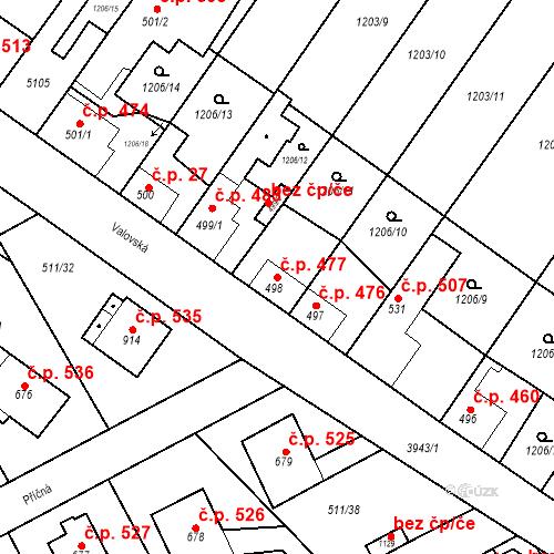 Katastrální mapa Stavební objekt Kryry 477, Kryry