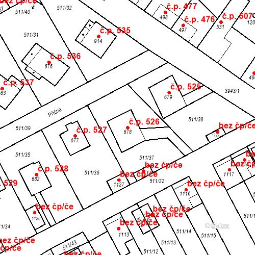 Katastrální mapa Stavební objekt Kryry 526, Kryry