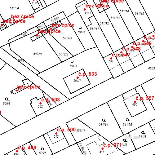 Katastrální mapa Stavební objekt Kryry 533, Kryry