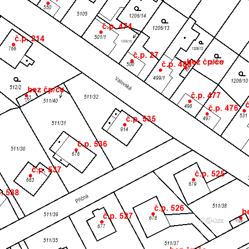 Katastrální mapa Stavební objekt Kryry 535, Kryry