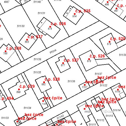 Katastrální mapa Stavební objekt Kryry 527, Kryry