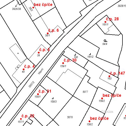 Katastrální mapa Stavební objekt Kryry 30, Kryry