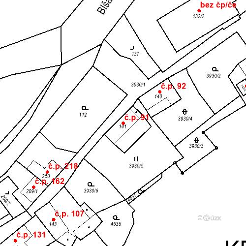 Katastrální mapa Stavební objekt Kryry 91, Kryry