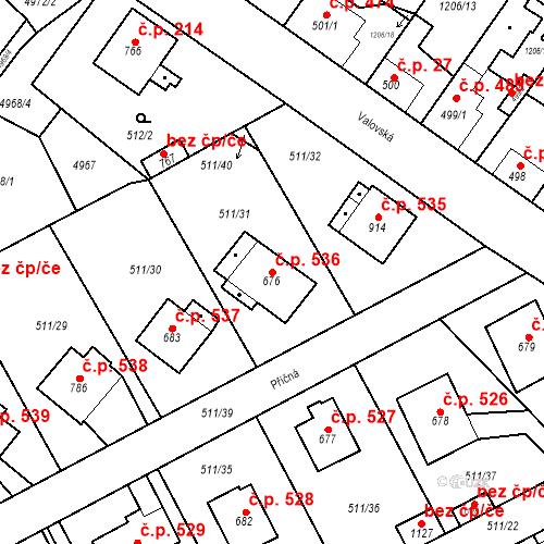Katastrální mapa Stavební objekt Kryry 536, Kryry