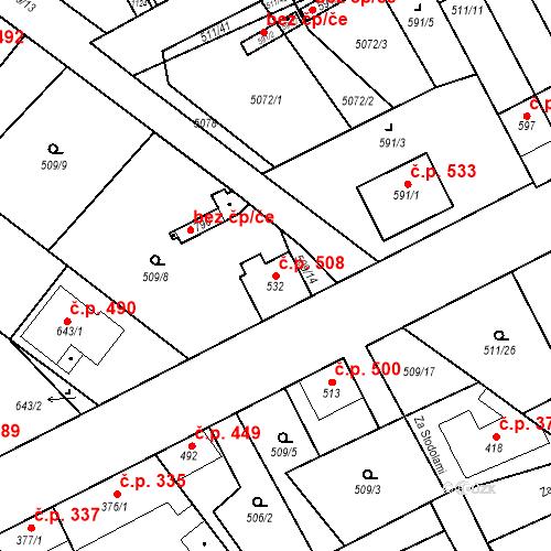 Katastrální mapa Stavební objekt Kryry 508, Kryry