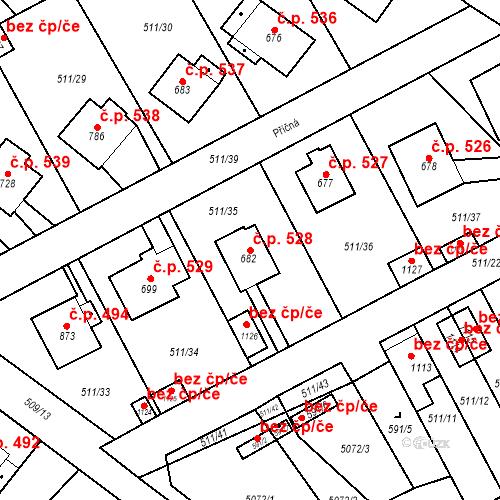 Katastrální mapa Stavební objekt Kryry 528, Kryry