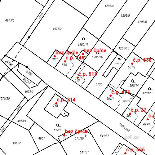 Katastrální mapa Stavební objekt Kryry 513, Kryry
