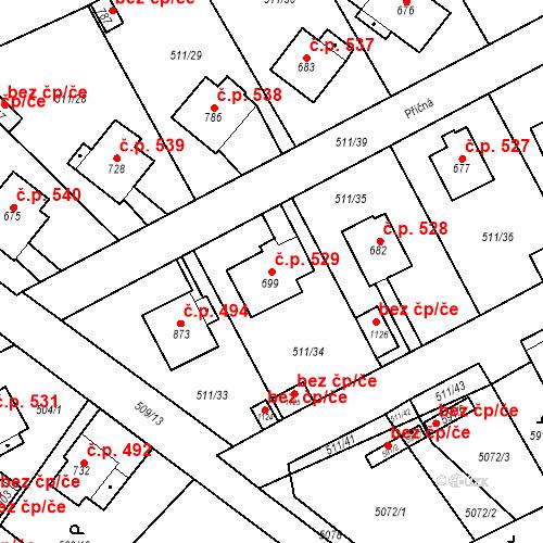 Katastrální mapa Stavební objekt Kryry 529, Kryry