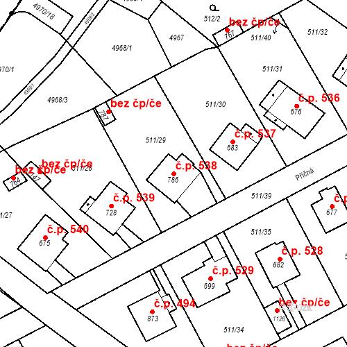 Katastrální mapa Stavební objekt Kryry 538, Kryry