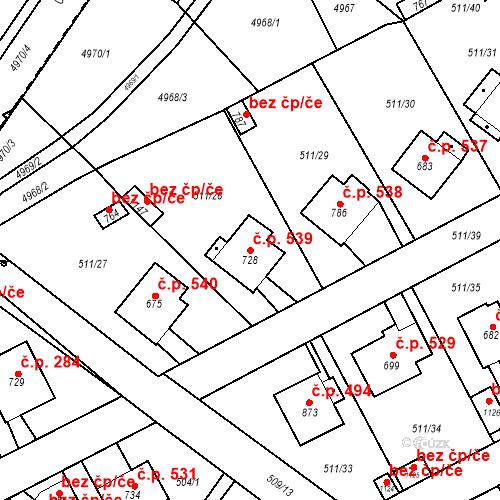 Katastrální mapa Stavební objekt Kryry 539, Kryry