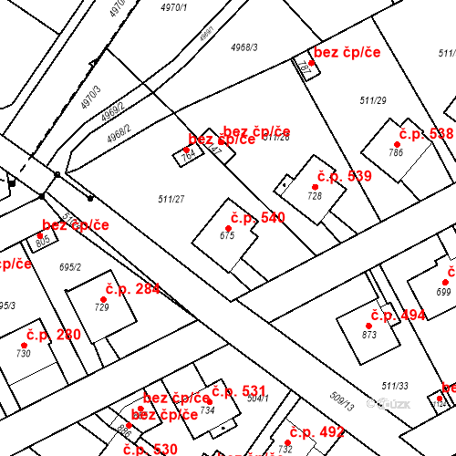 Katastrální mapa Stavební objekt Kryry 540, Kryry