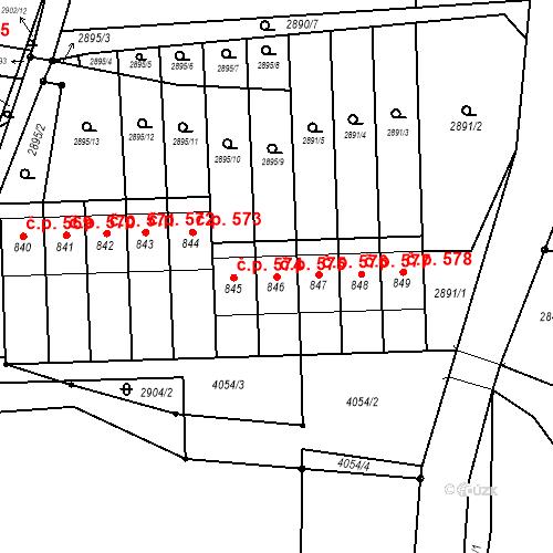 Katastrální mapa Stavební objekt Kryry 575, Kryry