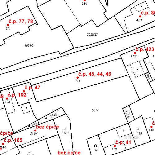 Katastrální mapa Stavební objekt Kryry 44, 45, 46, Kryry