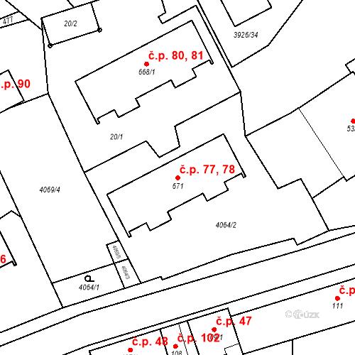 Katastrální mapa Stavební objekt Kryry 77, 78, Kryry