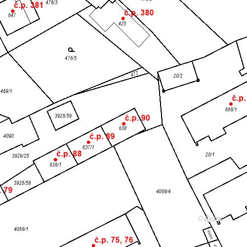 Katastrální mapa Stavební objekt Kryry 90, Kryry