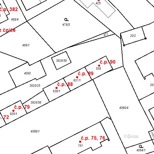 Katastrální mapa Stavební objekt Kryry 89, Kryry
