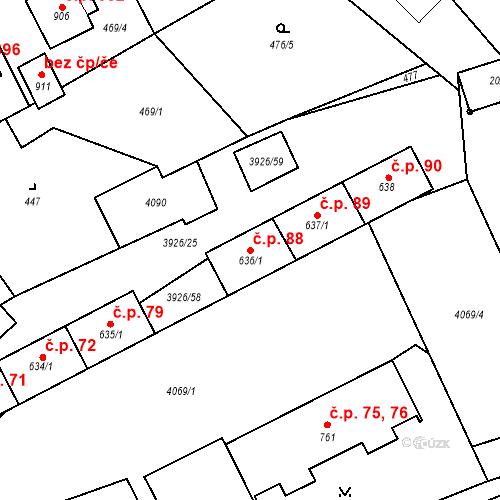 Katastrální mapa Stavební objekt Kryry 88, Kryry