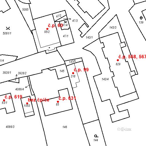 Katastrální mapa Stavební objekt Kryry 99, Kryry