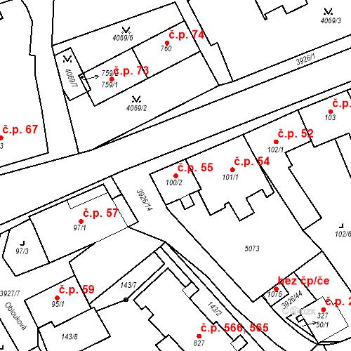 Katastrální mapa Stavební objekt Kryry 55, Kryry