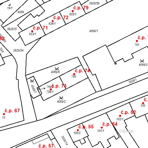 Katastrální mapa Stavební objekt Kryry 74, Kryry