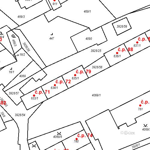 Katastrální mapa Stavební objekt Kryry 79, Kryry