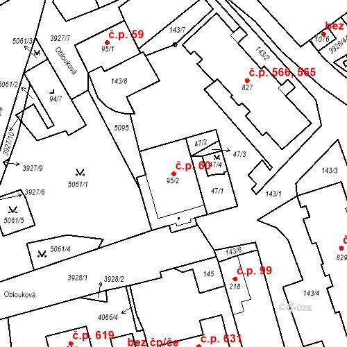 Katastrální mapa Stavební objekt Kryry 60, Kryry