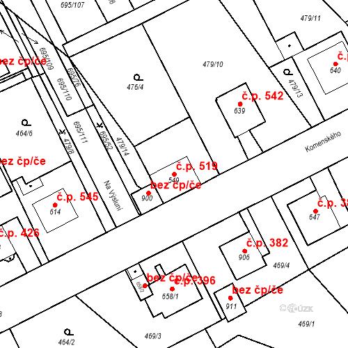 Katastrální mapa Stavební objekt Kryry 519, Kryry