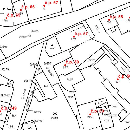 Katastrální mapa Stavební objekt Kryry 59, Kryry