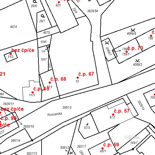 Katastrální mapa Stavební objekt Kryry 67, Kryry