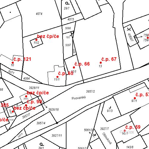 Katastrální mapa Stavební objekt Kryry 66, Kryry